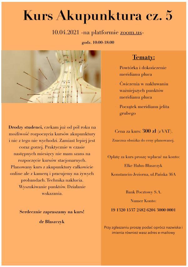 Kurs Akupunktury – kurs 5